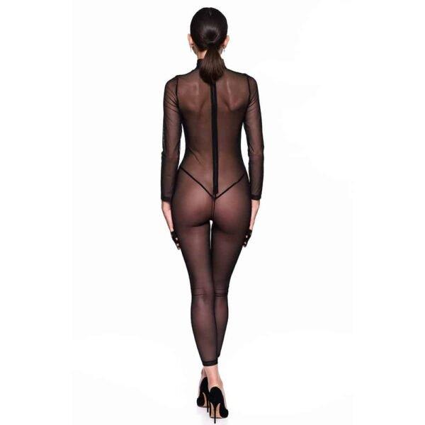 Traje de rejilla infinito, que cubre desde las muñecas hasta los tobillos, con un patrón gráfico en el cuerpo