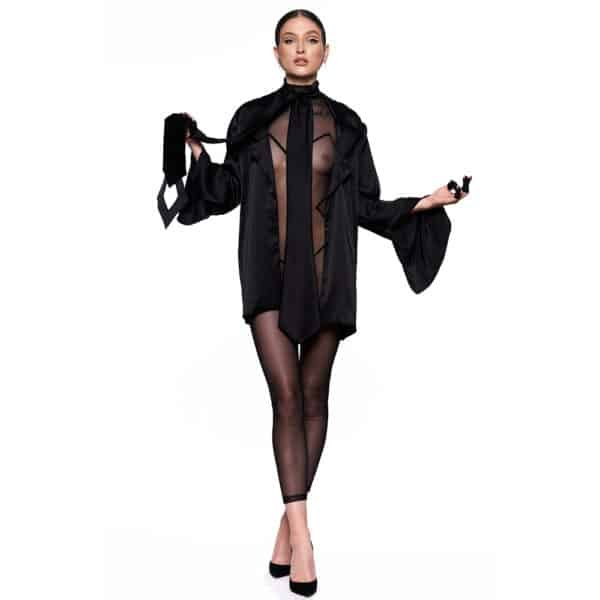 Infinity fishnet catsuit, covering from wrists to ankles, with a graphic pattern on the body