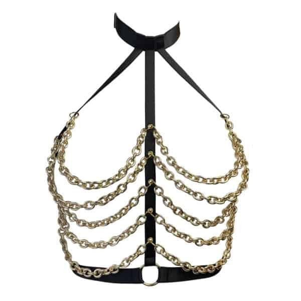 Black bondage harness with gold chains covering the chest while leaving it visible