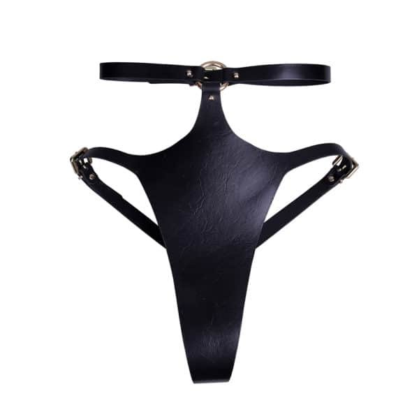Black leather bondage thong Freya from Elif Domanic. This thong has a high waist that fastens on the backside with a thin gold coloured buckle. The front part is split on the high ends and is connected to the waistband by a ring and three nails. At the back the leather string is also quite thick and decorated with studs on the high part.