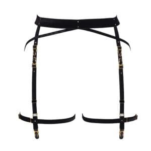Suspender belt Annecy from the brand Herve by Celine Marie. This product is made of fine black elastic in soft velvet. The hooks and adjustments are 24-carat gold-plated and decorated with gold crystals. One thick elastic band goes around the hip, the other bands are thinner.