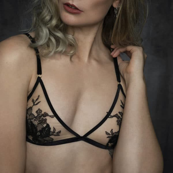 Triangle bra by HERVÉ by Céline Marie, shaped with black velvet elastics and a transparent fabric decorated with black lace. The rings of the bra are golden.