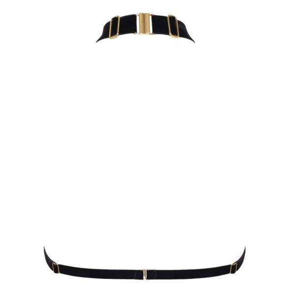 Dos du harnais Verene de la marque Hervé by Celine Marie. Le harnais est fait d'élastiques en velours noirs doux et fins et de réglages et crochets en plaqué or 24 carats. Le harnais s'attache à la nuque par une accroche dorée et contient un tour de dos.
