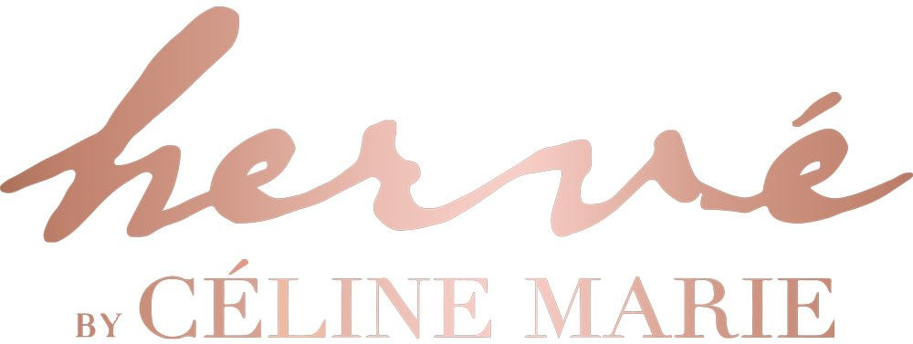 Logo of the brand HERVE BY CELINE MARIE from two typographies. The first name Hervé has a handwritten typography while the rest of the logo has a serif typeface.