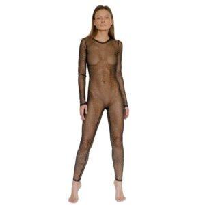Черный костюм Феникса от CRISTAL EYEZ. Этот комбинезон покрывает руки и ноги прозрачной тканью, усыпанной кристаллами Swarovski.