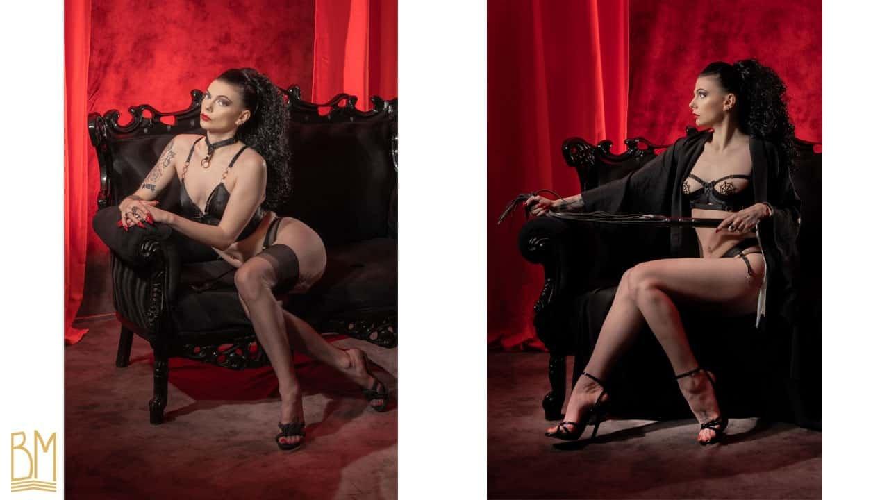 Photo de Julie Von Trash prise par Trash Tai. Julie Von Trash porte un soutien gorge noir Gia de la marque Bordelle et un Crop Top Noir Bondage-Belle de la marque Bordelle Signature.