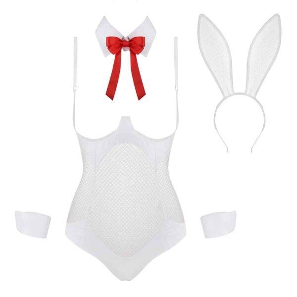 Costume de lapin de la marque Baed Stories de la collection costume. Il est blanc et ne possède pas de tissu au niveau de la poitrine, il est accompagné de manchette blanche ainsi que d'un col blanc avec un noeud papillon rouge. Le dernier accessoire est le serre tête lapin, blanc lui aussi.