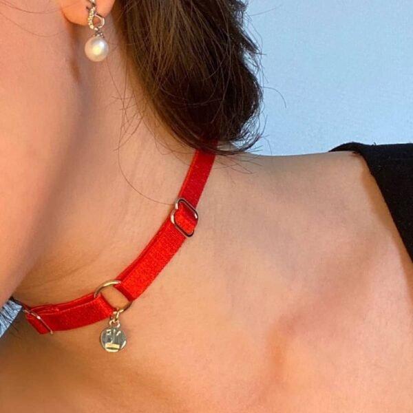 Ожерелье BM входит в подарочный пакет Brigade Mondaine. Изделие представляет собой простой чокер с красным эластичным ожерельем и золотой подвеской с логотипом Brigade Mondaine. Это украшение крепится к ожерелью с помощью кольца. Все изделие можно регулировать.
