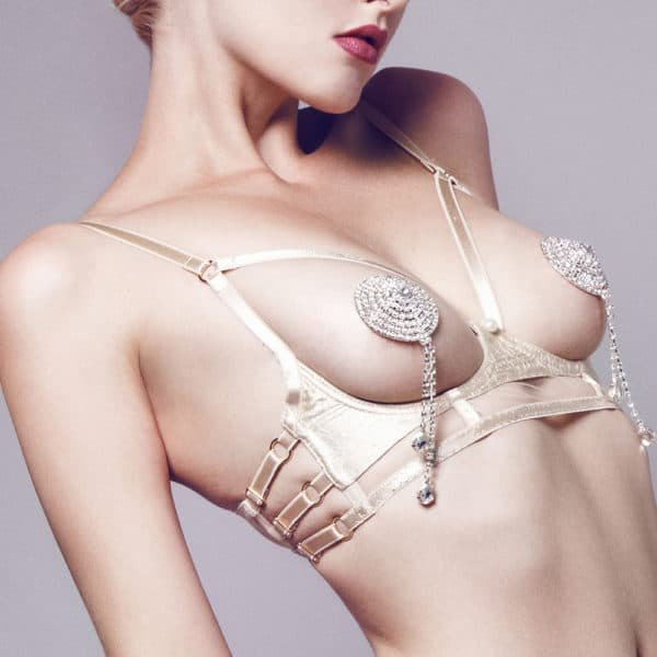 The model is wearing ELF Zhou London nipples. They are made of quartz crystals. There are papillae that hang with crystals at the end.