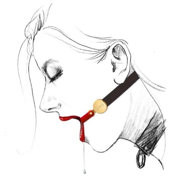 Ceci est un Bondage Invisible Gag de la marque Upko. Il y a une partie en silicone rouge qui se place à l'intérieur de la bouche. Elle peut être attachée et portée indépendamment. Pour l'attacher au niveau du cou vous pouvez vous servir de la partie noire en cuir.