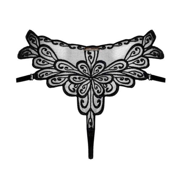 Harnais noir en dentelle de la marque Asche & Gold. En haut, il y a de chaque côté de petites parties transparentes et au centre des coutures noires en dentelle. Aussi, il y a une fine bande noire qui traverse les seins et se croisent en dessous.